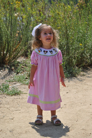 "Pink Gingham Smocked ""The Gangs All Here"" Bishop Dress"
