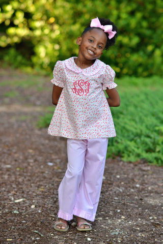 Pink Floral Collared Monogrammable Top & Pink Cotton Ruffle Pants