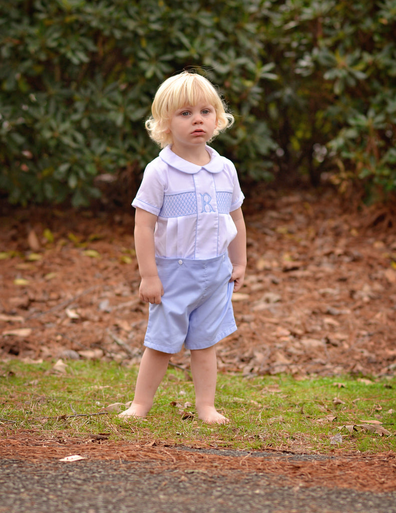 Boys Classic Collared Blue Geometric Smocked Top and Button on Shorts, boys smocked shorts set, The Smocking Bug, The Smocking Bug