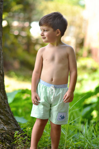 Smocked Whale Swim Trunks