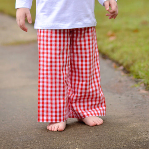 Boys Red Large Gingham Pants