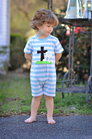 Blue Striped Knit Bunny Cross Applique Romper