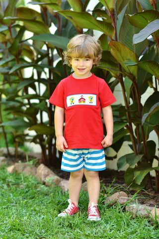 Red Knit Smocked School T-Shirt & Shorts Set