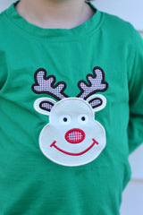 Boys Knit Rudolph Applique Pants Set, boys appliqued pants set, The Smocking Bug, The Smocking Bug