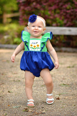Navy & Green Smocked Sunflowers & Bee Pinafore Bubble, Girls Smocked Bubbles, The Smocking Bug, The Smocking Bug