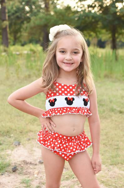 Girls Two Piece Smocked Mouse Ears Lined Swimsuit, swimsuits, The Smocking Bug, The Smocking Bug