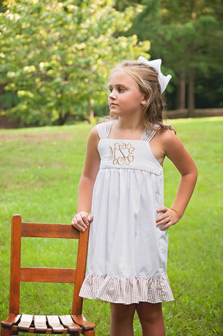 Monogrammable White Classic Line Dress w/ Tan Seersucker Tie Back & Ruffle