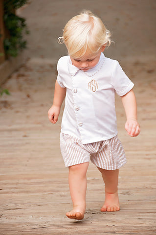 Classic Line Boys Side Button Down Shirt & Tan Seersucker Shorts Set