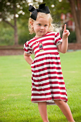 Garnet Striped Knit Monogrammable Gamecock Applique Dress