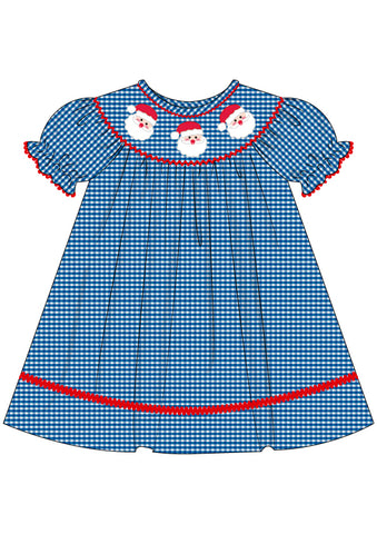 Blue Gingham Smocked Santa Bishop Dress