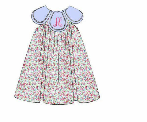 Monogrammable Pink Tiny Floral Light Blue Petal Dress