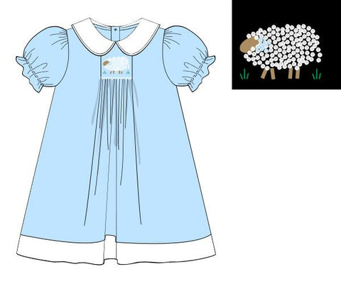 French Knot Embroidered Lamb Dress