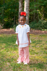 Girls Smocked Candycorn Bishop Swing Top & Orange Gingham Ruffle Pants, Girls Smocked Pants Set, The Smocking Bug, The Smocking Bug