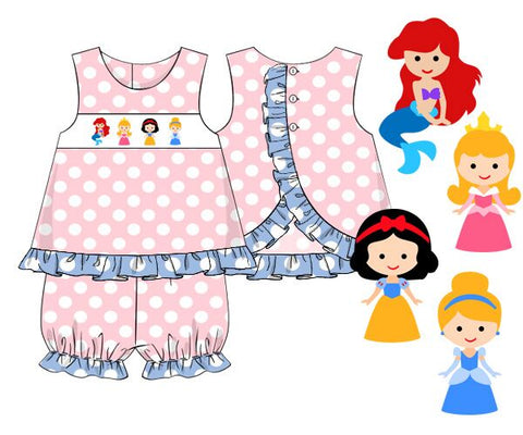 Girls Smocked Princesses Pink Polka Dotted Bloomer Set with Blue Ruffle Trim