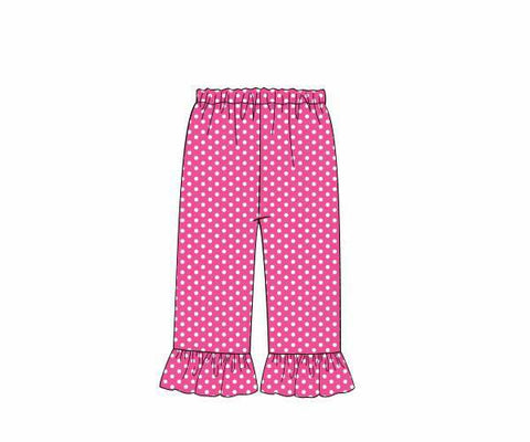 Girls Hot Pink Dotted Ruffle Pants