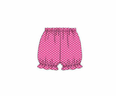 Girls Hot Pink Dotted Bloomers