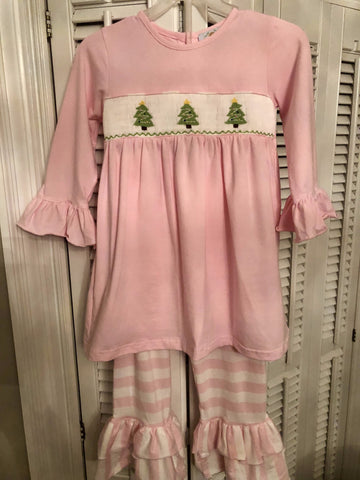 Baby Pink Smocked Knit Christmas Trees Ruffle Pants set