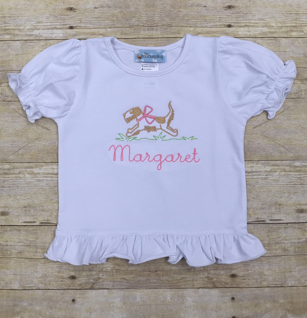 White Knit Monogrammable Run Puppy Run Ruffle Shirt, girls shirt, The Smocking Bug, The Smocking Bug