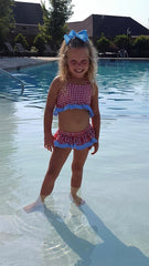 Large Red Gingham 2 Piece Swimsuit w/ Skirt, swimsuits, The Smocking Bug, The Smocking Bug