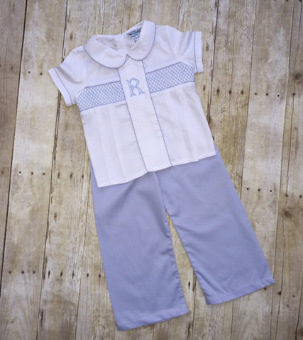 Boys Classic Collared Blue Geometric Smocked Top and Blue Pants