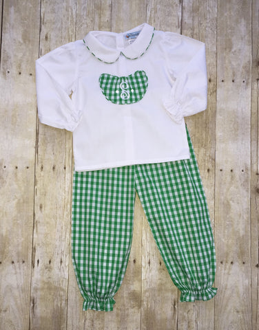 Green Large Gingham Girls Collared Shirt and Bubble Pants