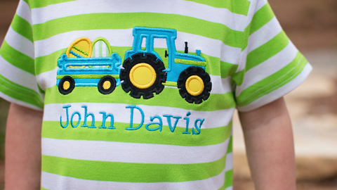 Boys Easter Egg Tractor Lime Striped Knit Romper