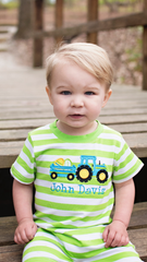 Boys Easter Egg Tractor Lime Striped Knit Romper, applique romper, The Smocking Bug, The Smocking Bug