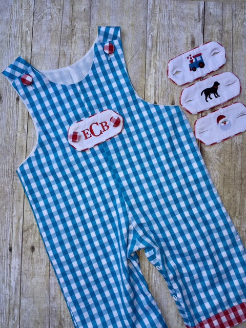 Large Aqua Gingham Longall w/ Removable Tabs, Boys Longall, The Smocking Bug, The Smocking Bug