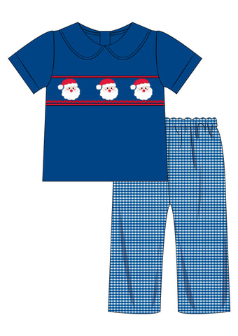 Blue Smocked Santa Collared Pants Set