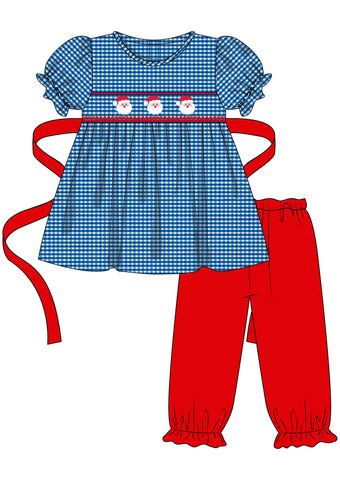 Blue Gingham Smocked Santa Girls Pants Set with ribbon