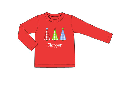 Red Boys Appliquéd Christmas Tree Trio Shirt