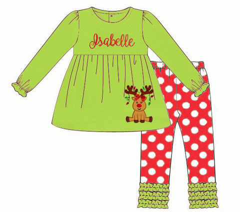 Knit Applique Reindeer Ruffle Pants set