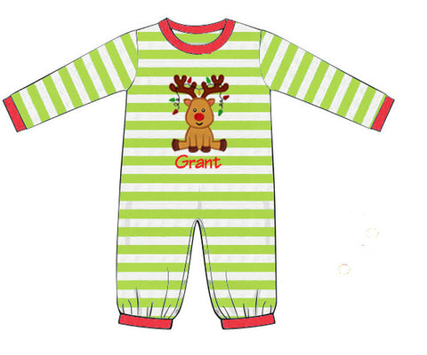 Boys Knit Reindeer Appliqué Long Romper