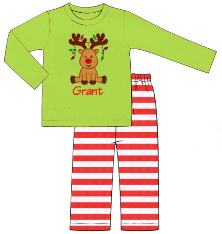 Boys Applique Reindeer Pants Set