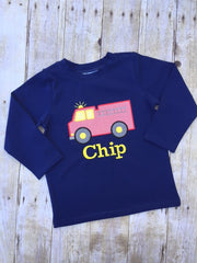 Navy Blue Monogrammable Fire Truck Applique Shirt, appliqued shirt, The Smocking Bug, The Smocking Bug