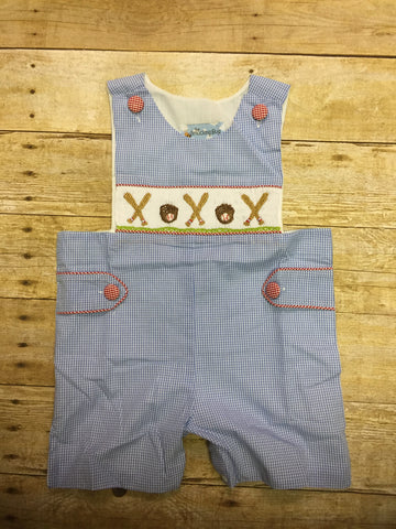 Blue Gingham Smocked Baseball Jon Jon w/ Side Tabs