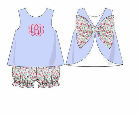 Monogrammable Light Blue Top & Pink Tiny Floral Big Bow Bloomer Set