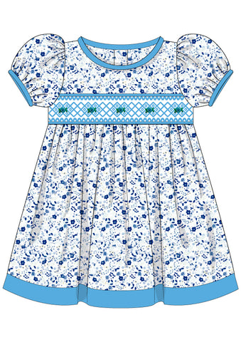 Blue Floral Smocked Tie Back Bishop Dress