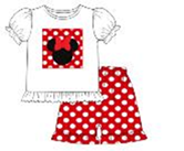 Girls Monogrammable White Knit Applique Mouse Ears Patch Shirt with Red Polka Dot Ruffle Shorts