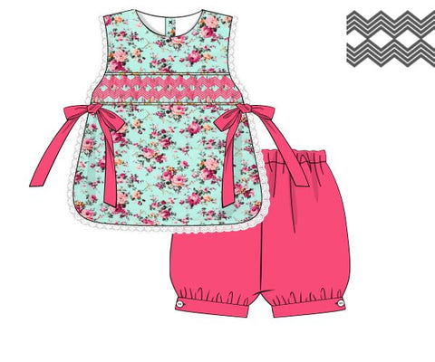 Mint Floral Hot Pink Geometric Smocked Top with Side Ties & Hot Pink Bloomers