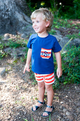 Boys Navy & Orange Striped Knit Shorts Set w/ Monogrammable Pocket