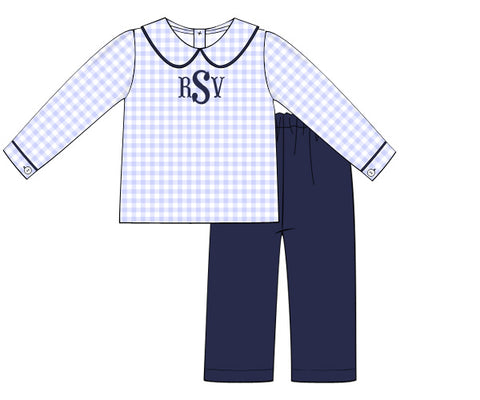 Monogrammable Blue Gingham Knit Peter Pan Collared Top and Navy Knit Pants