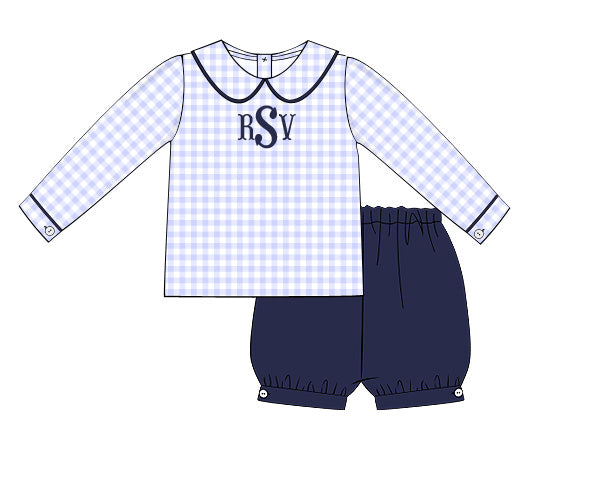Monogrammable Blue Gingham Knit Peter Pan Collar Top & Navy Banded Shorts