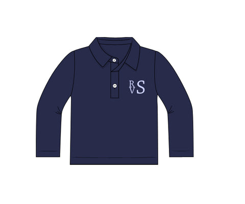 Navy Blue Long Sleeved Monogrammable Polo Shirt