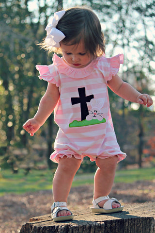 Pink Striped Knit Ruffle Bunny Cross Applique Romper