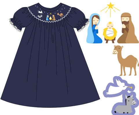 Navy Smocked Nativity Bishop Dress