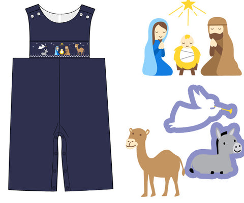 Navy Smocked Nativity Longall