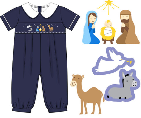 Navy Smocked Nativity Long Bubble