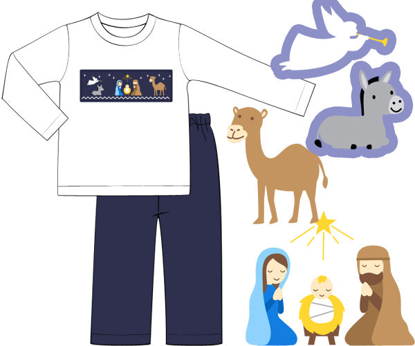 Navy Smocked Nativity Pants Set