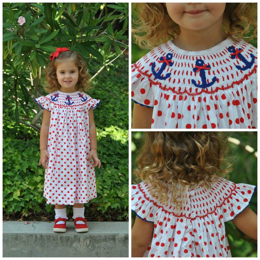 Red Polka Dotted Smocked Anchor Dress w/ Navy Rick Rack & Bows, dress, The Smocking Bug, The Smocking Bug